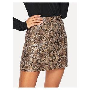 Brown Snake Print Button Down Mini Skirt